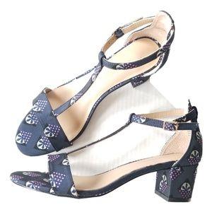 Anthropologie Floral T Strap Kitten Heels Sandals